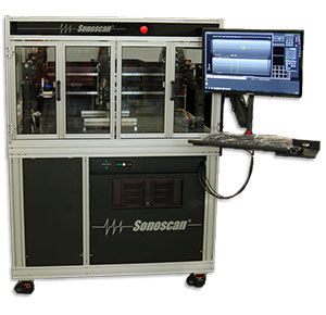 A large-area scan bed, semiatumated acoustic microscope used for component screening applications and analysis.
